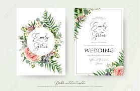 Floral Wedding Invitation Elegant Invite Thank You Rsvp Card