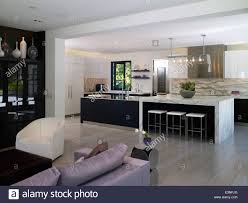 Open Plan Living Room And Kitchen In Stone House Atherton Stock Ideas  Califor: Full ...