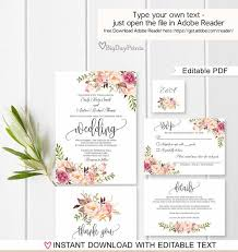 Free Downloadable Wedding Invitation Templates Amazing Wedding Invitation Template Floral Wedding Invitation Suite Etsy