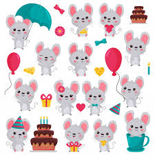 <b>Cartoon kawaii mouse</b> characters set in different situations Vector ...