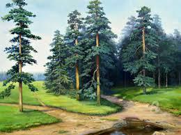 pine trees painting 60x80x2 cm 2016 by sergey lutsenko realism canvas