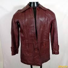 vintage 70s lambskin leather biker jacket womens size xs wine purple
