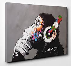 image is loading banksy dj monkey gorilla chimp mounted canvas wall  on banksy wall art prints with banksy dj monkey gorilla chimp mounted canvas wall art print picture