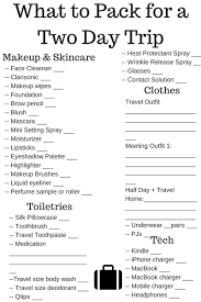 Sample Travel Packing List Printable Packing List For Business Trip Download Them Or Print