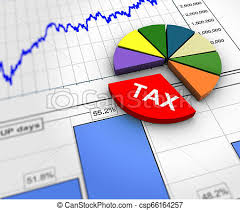 3d Tax Pie Chart On Financial Report