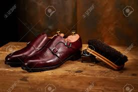 still life with men s leather shoes and accessories for shoes care stock photo 66292871