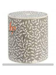 Bone Inlay Round Grey Stool Side Table Personalized Home Decor Furniture Beautiful And Attractive Designer Modern