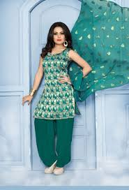 Punjabi Suit Stitching Designs Semi Stitched Rama Green Banarasi Silk Punjabi Salwar Suit