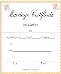 Printable Fake Marriage Certificate Template Formal Free Updrill Co