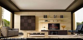 coffee cream shade living room interior with TV wall design with open  shelves