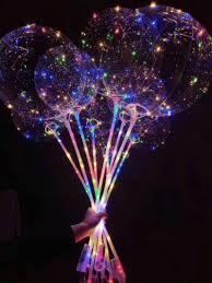 Led Christmas Light Sticks Bobo Led Balloon With Stick Colored Light Luminous Clear