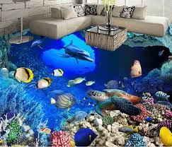 Wallpaper Vinyl 3d Flooring Cave Tropical Fish Bedroom Wallpaper 3d Floor  Tiles Self Adhesive Wallpaper