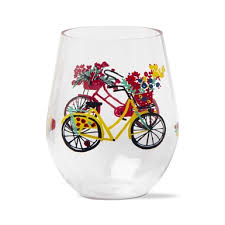 bike rider acrylic stemless wine glass