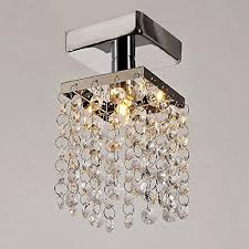 ferty mini crystal chandeliers lighting modern rain drop pendant stainless steel flush mount ceiling light lamp fixture for living dining room us stock