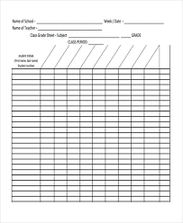 11 Grade Sheet Templates Free Sample Example Format