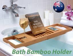 bathroom bamboo bath caddy wine glass holder tray over bathtub rack support syd