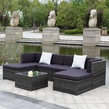 ikayaa 7pcs cushioned outdoor patio garden furniture sofa set ottoman corner couch sectional furniture rattan wicker