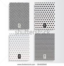 Abstract Minimal Black And White Flyer Or Book Cover Design Set With