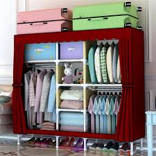 hhaini 67 portable closet wardrobe clothes rack storage organizer with shelves all steel frame structure free 1 storage box portable closet clothes rack