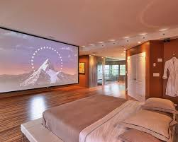 luxury home lighting. Luxury Home Theater In A Bedroom With Recessed Lighting And Solid Hardwood Flooring