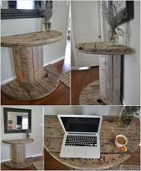 unique entryway tables. a unique table created with half cable spool entryway tables y