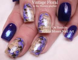 Vintage Navy Nail Art Design Tutorial with Purple Antique Flowers ...