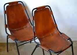 mid century modern charlotte perriand les arcs metal leather side chairs for