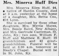 Obituary for Minerva Ellen Huff (Aged 94) - Newspapers.com