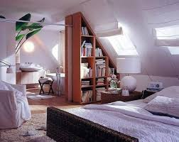 M : Low Ceiling Attic Bedroom Ideas Lamp Standing Gray Drawer Desk White  White Rectangle Laminated Bed Red Wall Paint (625 x 498)