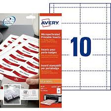 Avery L4727 20 Printable Name Badge Insert Refills 90 X 54 Mm Inserts White Pack Of 200