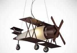 walnut bi plane hanging pendant