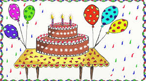 Drawing A Simple Birthday Cake How To Draw Cake Drawing For Kids