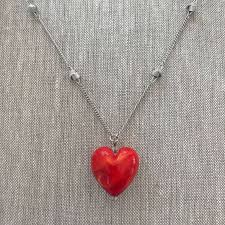 red art glass heart necklace