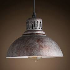 antique rust finish and bowl shade 8 4 wide mini pendant light in industrial style