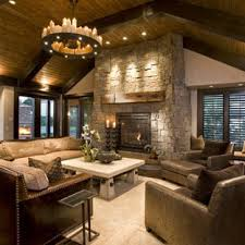 Family room lighting Layout Mountain Style Family Room Photo In Minneapolis With Stone Fireplace Homegrown Decor Ceiling Light Fixture Family Room Ideas Photos Houzz