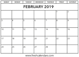 february printable calendar 2019 february 2019 printable calendars fresh calendars