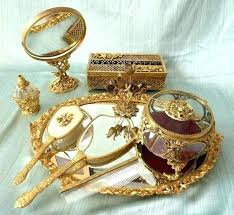 dresser vanity set vintage mirror tray dogwood bird gold plated gilt ormolu 9 oval hand and antique orm