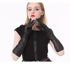 women long leather gloves luxurious woven lambskin leather winter warm fashion high end paty accessories