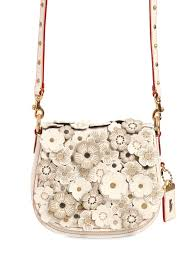 coach 1941 small saddle rose appliqués leather bag ivory women bags,coach  crossbody signature,