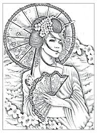 Adult Coloring Page Art Journal Geisha Tattoo Design And Warrior