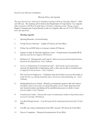 Escrow Law Advisory Committee Meeting Notice and Agenda The next Escrow Law  Advisory Committee meeting will be on Tuesday, Marc
