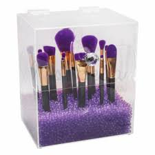 brush holder beads. brush holder with lid large violet beads