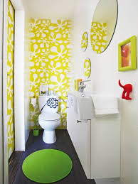 Bathroom Sweet Yellow Wallpaper Painting In Powder Room Combined - Yellow and white bathroom