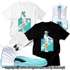 12 Gs Light Aqua Custom T Shirt Matching Style Of Air Jordan 12 Gs Light Aqua Jd 12 5 10