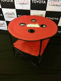 collapsible round table with 4 cup holders carry bag