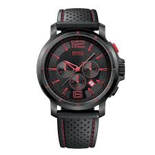 hugo boss watches 1512597 mens black leather red stitching strap