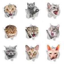 <b>Cats</b> Wall <b>Sticker Toilet Stickers</b> 3D Hole View Vivid <b>Bathroom</b> Room ...