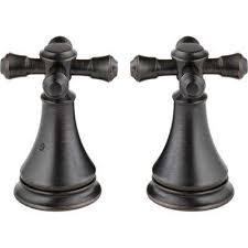 pair of cassidy metal cross handles for roman tub faucet in venetian bronze