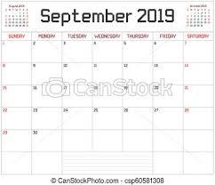 Year 2019 September Planner