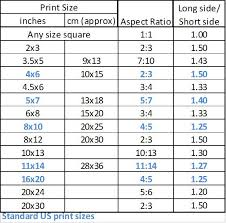 Photograph Sizes Chart Size Photos For Printing In This Table The Standard Size